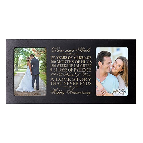 LifeSong Milestones Personalized 25 Year her him Couple Custom Engraved Wedding Celebration for Husband Wife Girlfriend Boyfriend Photo Frame Holds Two 4x6 Photos (Black)