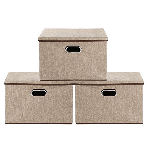 Baby Nursery Bag Storage bins,okdeals Storage Box Cubes Organizer Large Foldable Storage Containers with Removable Lid and Stainless Steel Handles,Set of 3 (Large Foldable Box)