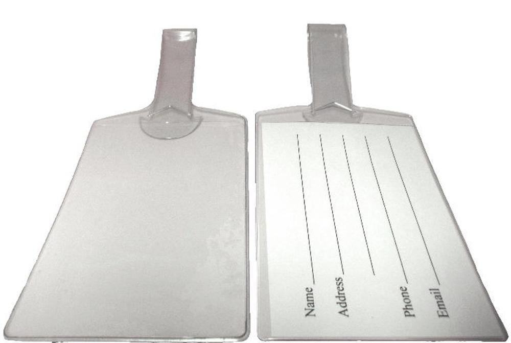 Large Clear Vinyl Cruise Luggage Tags Self Looping - Set of 25