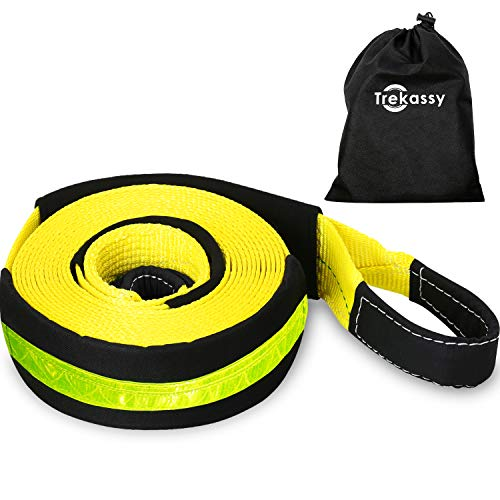 Trekassy 3'' x 30' Tow Strap Heavy Duty, Vehicle Recovery Strap with 35,000 lbs Capacity, Reflective Sleeve and Reusable Storage Bag by Trekassy