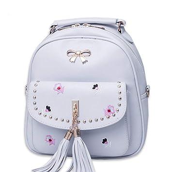 JJSSGJBB Student backpack Mini Backpacks Women Floral Design Travel  Rucksacks PU Leather Female Tassel Shoulder School a8ff048844