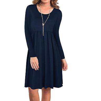 97ffbf7b735 Angelof Robe Femme Chic Longue Manche Automne Simple Uni Col Rond Loisirs  Hiver pour Fillette (