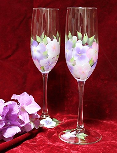 Hand Painted Champagne Glasses - Pink and Lavender Hydrangeas (Set of 2)