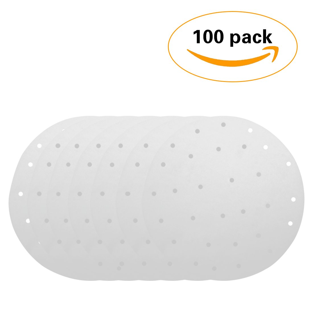 Non Stick For Air Fryer Rice Dim Sum SP-100 Steaming Basket JINSEY Round Perforated Parchment Bamboo Steamer Paper Liners Cooking 100 Pack Vegetables 9 inch