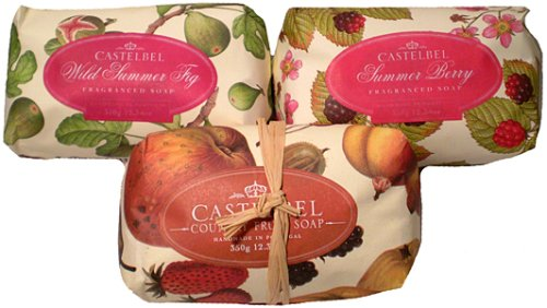 Price comparison product image Castelbel Summer Berry, Country Fruit & Wild Summer Fig Single Bar Soap Set From Portugal