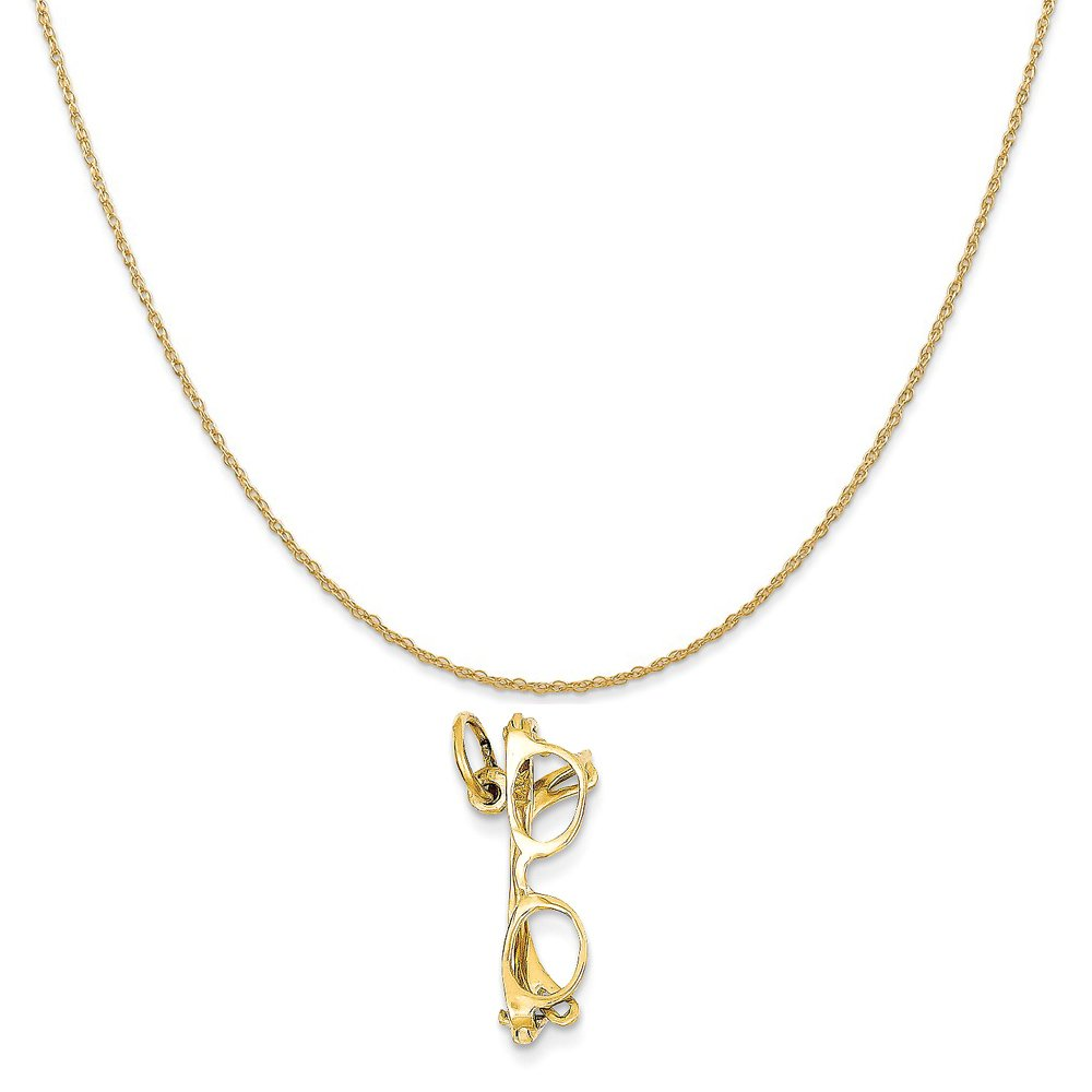 14k Yellow Gold Glasses Charm on a 14K Yellow Gold Rope Chain Necklace, 18''