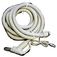 Central Vac Hose Assy 30ft Dual Switching Crushproof Electric Gas Pump-Grey