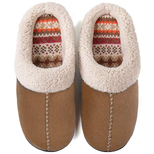 ULTRAIDEAS Women's Comfort Memory Foam Slippers with Warm Fleece Lining and Wool-Like Collar, Casual Micro Suede Slip on…