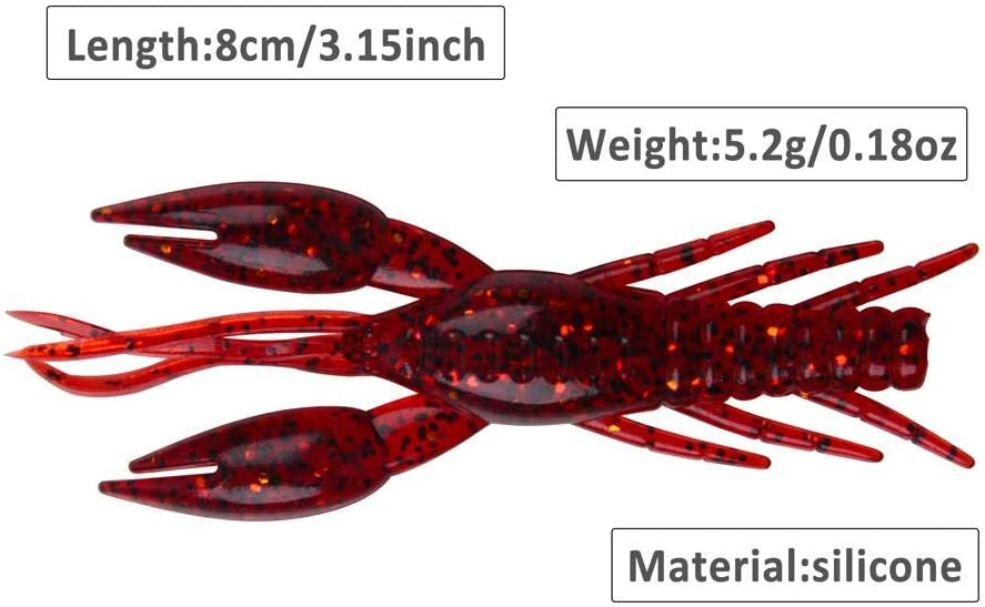 LIMMC 4pcs leurre Souple de p/êche aux app/âts 8cm 5,2 g en Caoutchouc /écrevisse-app/âts Homard Artificiel ver vers crevette app/ât Bass leurre de p/êche