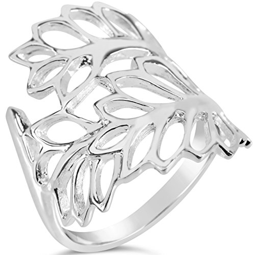 floral-collection-womens-sterling-silver-spring-leaves-ring-size-10-includes-care-bundle