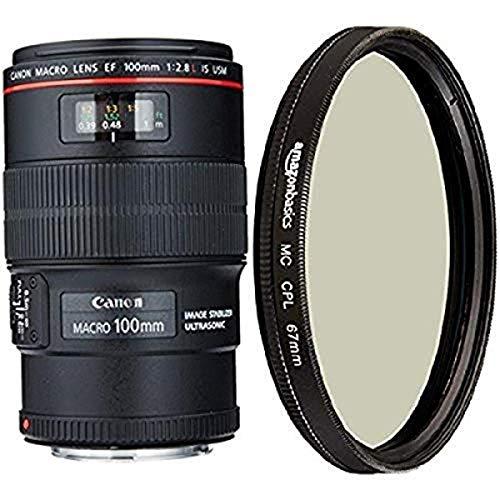 Canon EF 100mm f/2.8L IS USM Macro Lens for Canon Digital SLR Cameras and Amazon Basics Circular Polarizer Lens – 67 mm
