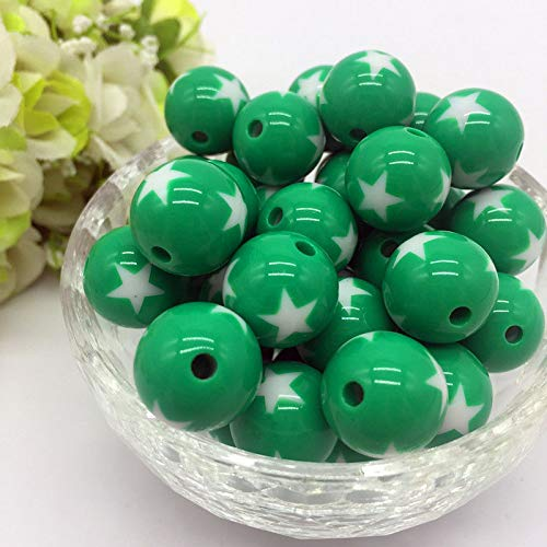 10Pcs stars Acrylic Round Pearl Spacer Loose Beads Jewelry Making Deep Green