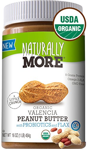 Naturally More 100% Organic Peanut Butter - All Natural Valencia Peanuts - Probiotic Infused-Premium Roasted Peanut Taste-Heart Healthy Flax - Vegan - Gluten Free - Plant Based (100% Butter)