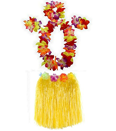 AniiKiss 1 Set 40cm Kids Party Hawaii Dress Hula Grass Skirt - Double Layer Thickened Hawaii Skirt (Yellow) -