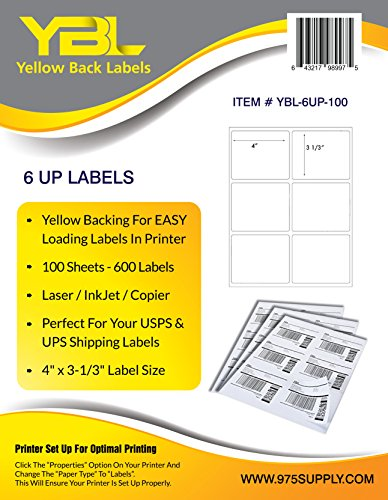 YBL Labels - 6 Up Labels - Address Labels - Shipping / Mailing Labels - 4