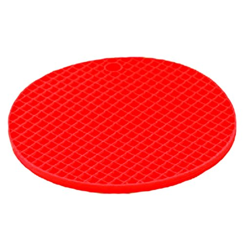 2PCS Large Silicone Cup Mats Coasters Drinks Holder Placemats, Round, Red