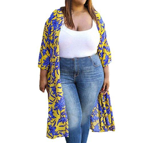 Plus Size Cardigan Tops,Goddessvan Women Printed Tops Cover Up Blouse Floral 3/4 Sleeve Kimono Cardigan (3XL, Yellow)