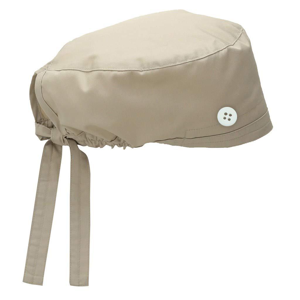 Mifelio Scrub Cap Adjustable Scrub Hats with Buttons Cotton Sweatband for Women Men(Blue)