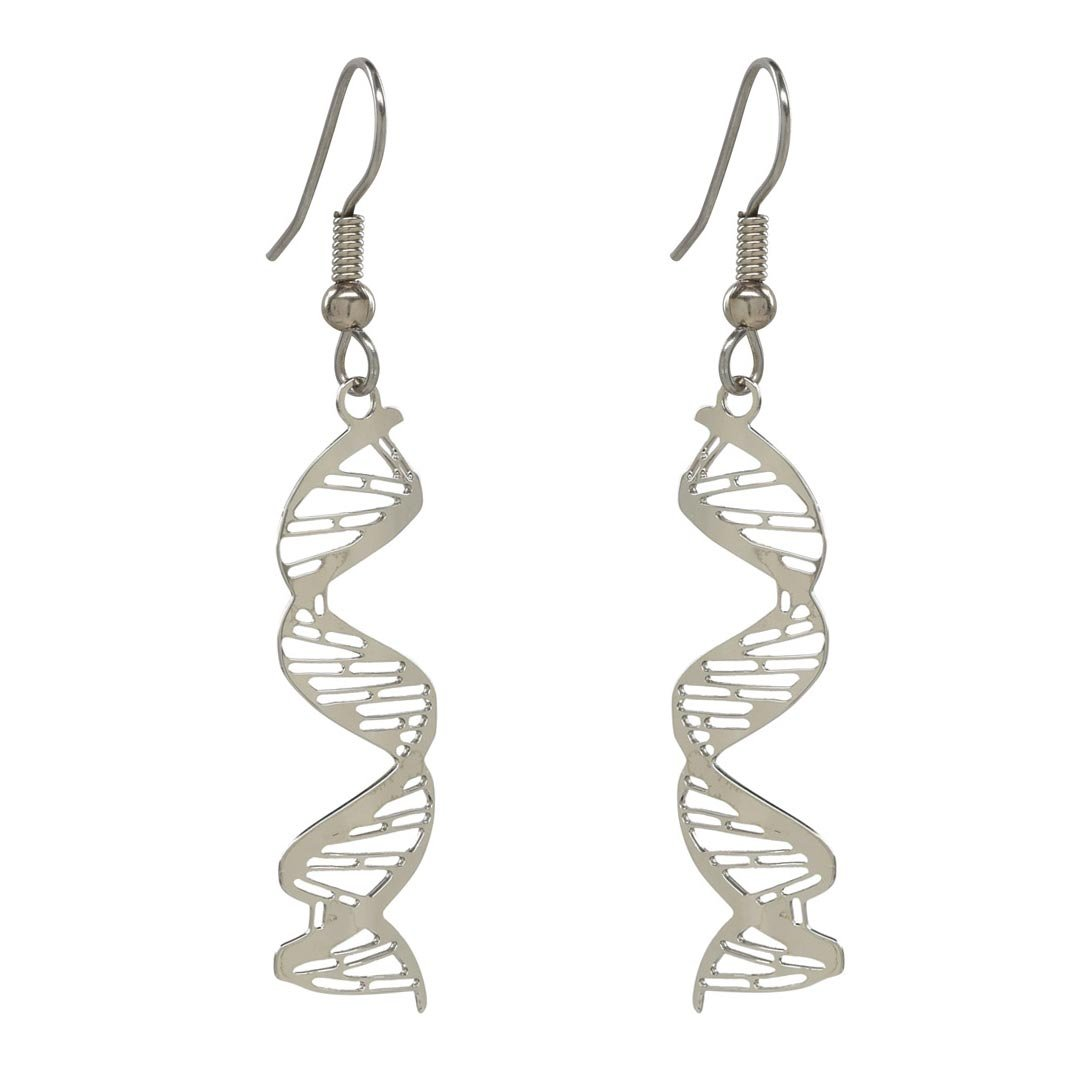 Boutique Academia DNA Earrings - Science Jewelry Gift - Anatomically Correct DNA Spirals With Major & Minor Grooves And Base Pairing