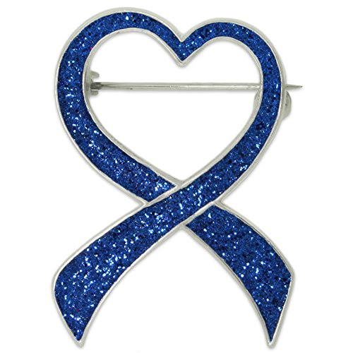 PinMart's Blue Glitter Heart Awareness Ribbon Enamel Brooch Pin Cancer Research Pins