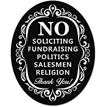 "No Soliciting Sign for Home and Business | Stylish Laser Cut Oval 5"" X 4"" Heavy Duty DiBond Aluminum 