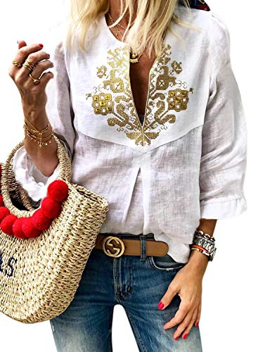 LOSRLY Womens 3/4 Frill Sleeve V Neck Tribal Printed Casual Blouses Petite Embroidered Shirts S White04
