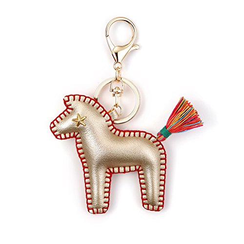 Horse Key Ring Chain, Nikang Handmade Leather Key Holder Metal Chain Charm With Tassels, Tassel key chain, Handbag Accessories, Purse Pendant, Fashion Item, Car Key Chain, Idea for Woman, Gold (Pendant Purse)