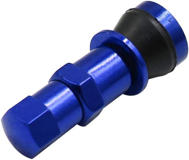 Sourcingmap 4pcs Blue Aluminum Alloy Tubeless Tire Valve Stems with Dust Cap