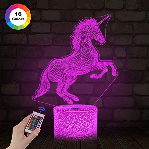 FULLOSUN Unicorn Gifts, 3D Night Light for Kids Projection LED Lamp Baby Nursery Nightlight with Remote Control &16 Color Changing Gifts for Kids Room Xmas Birthday(Remote -Ice Crake Base)]()