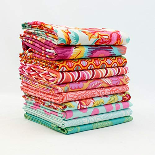 Southern Fabric Tula Pink - Orange and Aqua Half Yard Bundle (10 pcs) - Mixed Designers 18 x 43 inches (45.72cm x 109.22cm) DIY quilt fabric from Southern Fabric