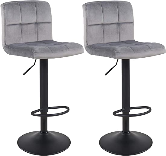 Duhome Set of 2 Adjustable Swivel Velvet Bar Stool Chairs Counter Stools, Breakfast Chairs Grey