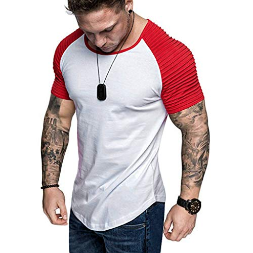 Sunmoot Summer Patchwork Top for Mens Short Sleeve Slim Fit T-Shirt Raglan Pleats Pattern Casual Top Blouse Candy Stripe Hoodie Top