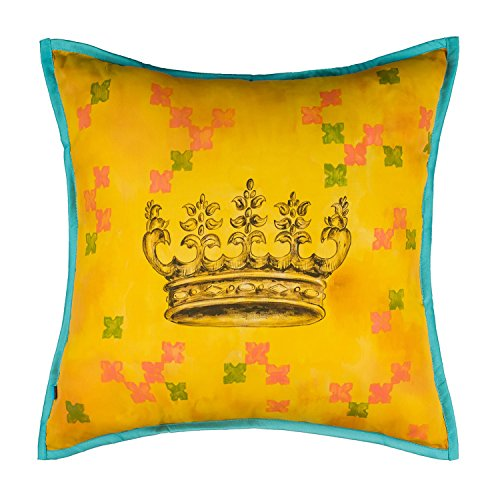 Price comparison product image Crown Soft Vintage Decorative Throw Pillow Cover for Sofa, Couch & Bed, 18x18, Golden Yellow