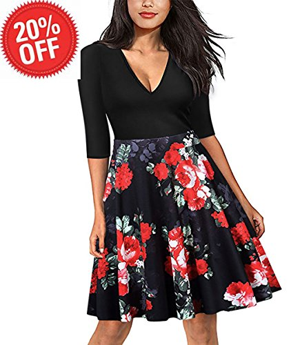 Girls Floral Midi Dress Half Sleeves V Neck Wedding Guest Flower Sexy Dresses ,Red Floral,Large Kids Career Dress