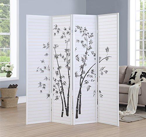 - Roundhill RD043WH Bamboo Print 4 Framed Room Screen/Divider, 4 panel, White