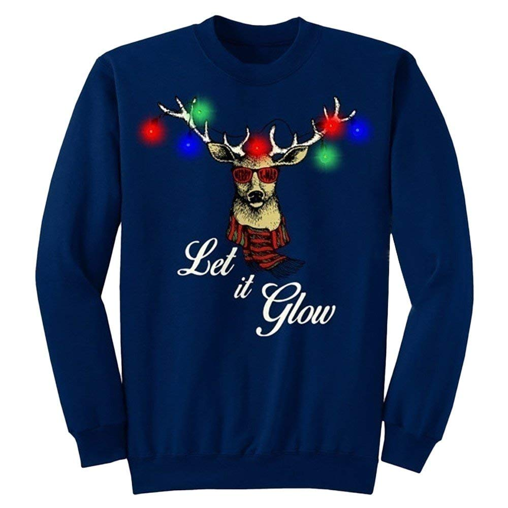 Men/&Women Ugly Christmas Sweater Funny Sweatshirt Long Sleeve Shirt Tops Pullover-up Let It Glow