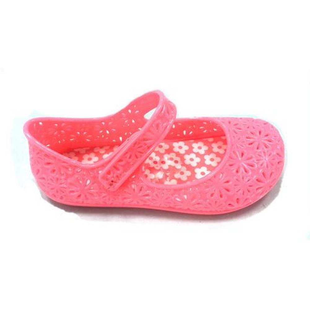 Mary Jane Shoes Girls Toddler Jelly Glitter Flat Shoe Pink Purple White Colors (9, Coral Pink)