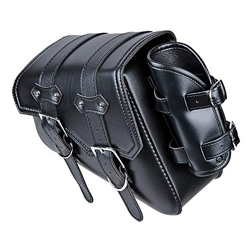 Motorcycle Barrel Bag - Astra Depot Black Leatherette Rear Left Motorcycle Saddle Bag Side Tool Bags Compatible with Harley Sportster 2004-UP