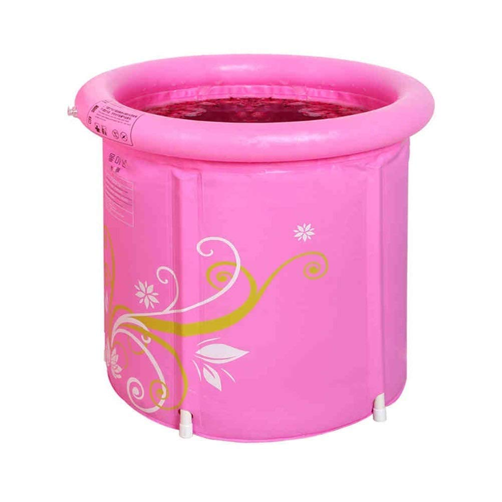 Inflatable Bathtub, Plastic Children Bath Tub Soaking Shower Basin Spa Tub Folding Bathtub Air Swimming Pool GAOFENG (Color : Pink, Size : 6570cm)