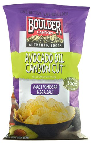 Boulder Canyon Authentic Foods Avocado Oil Canyon Cut? Kettle Cooked Potato Chips Malt Vinegar & Sea Salt --
