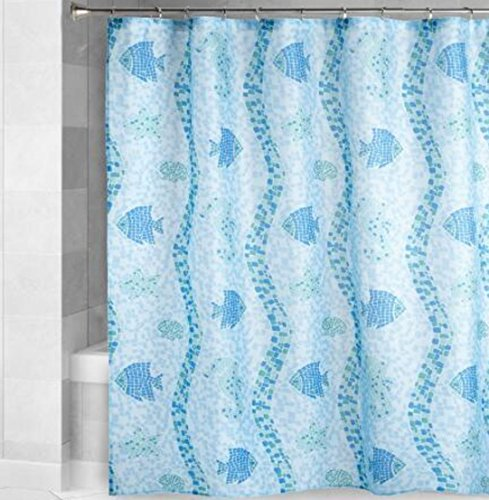 Tropical Fish Angel - Nantucket Home Tropical Blue Angel Fish, Seahorse and Starfish Mosaic Shower Curtain