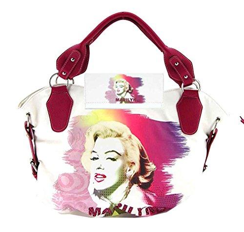 Marilyn Monroe Large Purse Wallet Set, White Tote, Plus Keychain, MR3132-SET ()