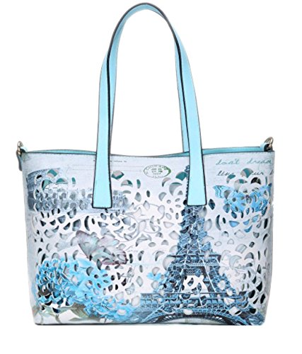 Vintage Handle Leather Rome Laser Girly Bag Blue Top Womens HandBags London Paris Cut Handbag Faux qaH7X