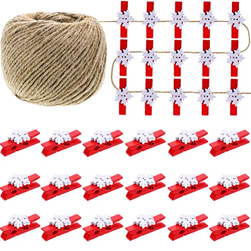 Boao 100 Pieces Snowflake Wood Clips Christmas Snowflake Clothespins Photo DIY Wood Clips Small Craft Pegs with 50 Meters Rope for Game Favors Party Ornaments (Red and White)