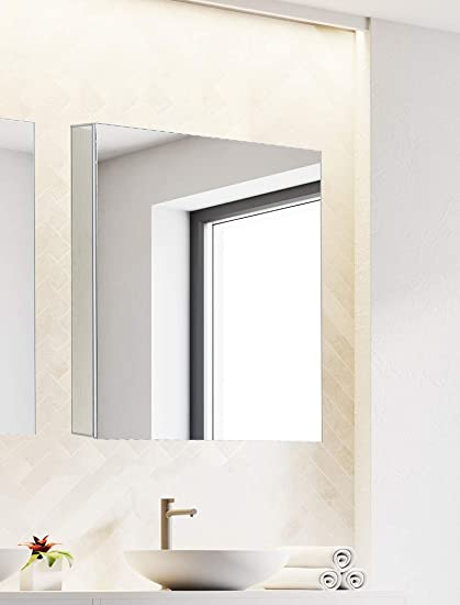 Bathroom Medicine Cabinet, Aluminum, Recessed Surface Mount, 24 x 24 , Right Left Hinged, Mirrored Interior