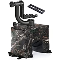 Movo Outdoor Photography Bundle with Carbon Fiber Gimbal Head & Camouflage Bean Bag for DSLR Cameras with Zoom Lens