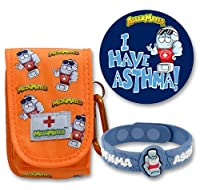 AllerMates Asthma Prep Kit with Inhaler Case Wristband, Orange, Small