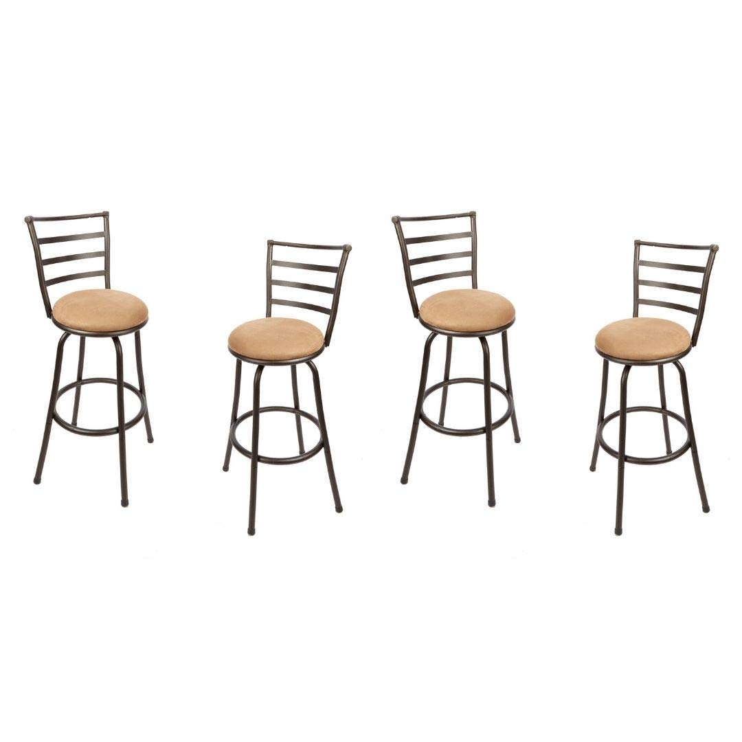 Mainstays Adjustable-Height Swivel Barstool, Hammered Bronze Finish, (4 Set, Hammered Bronze Finish)