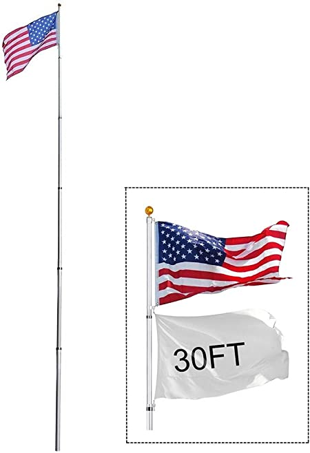 30ft Flag Pole Telescopic Flagpole Kit Aluminum 3x5 U S Flag Fly 2 Flag America