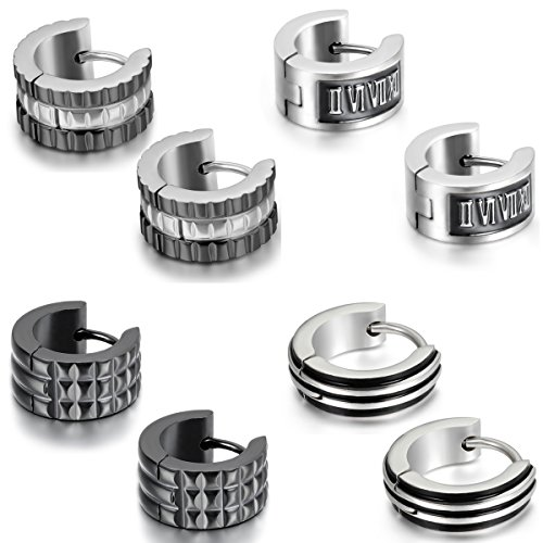 Aroncent Stainless Unique Earrings Huggie